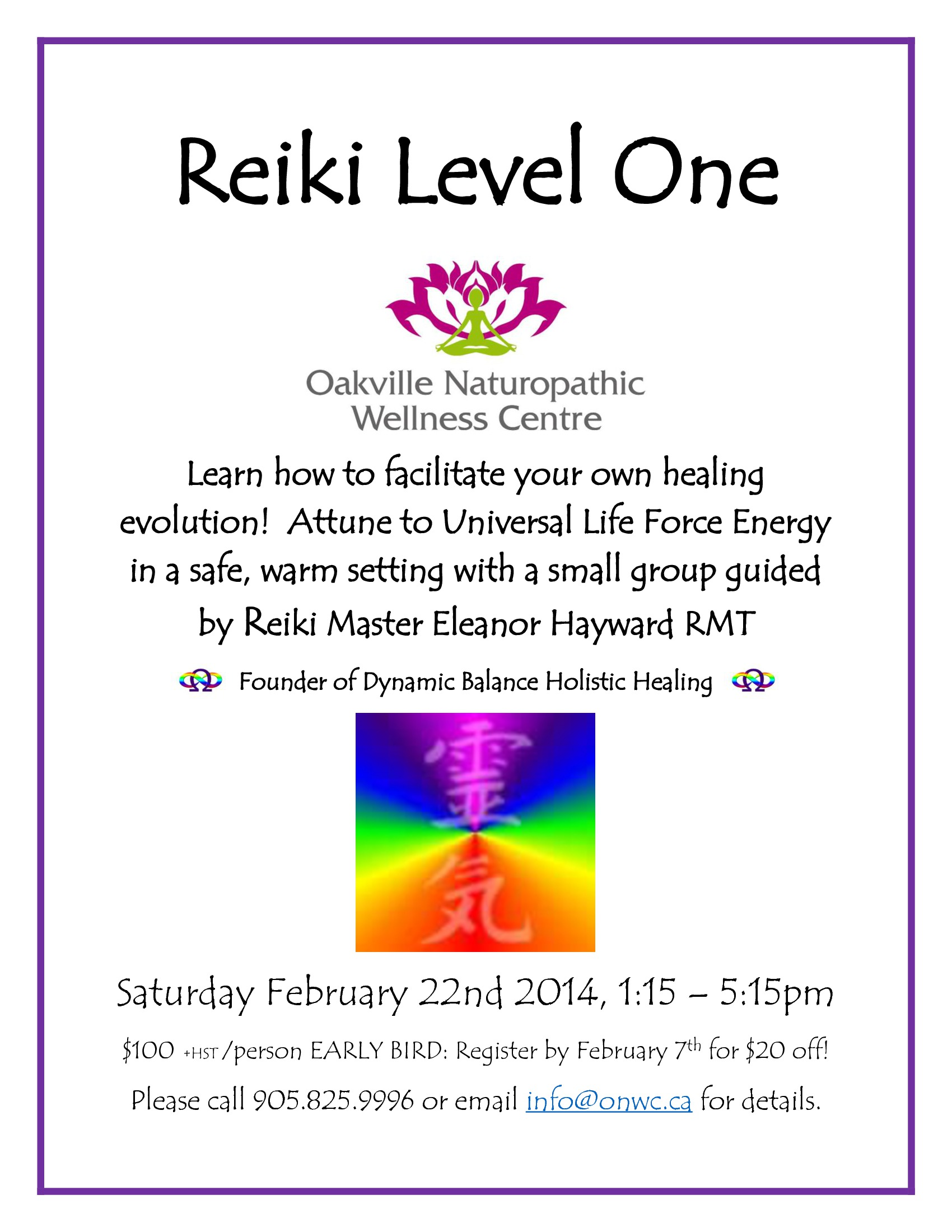 reiki level one flyer feb 2014