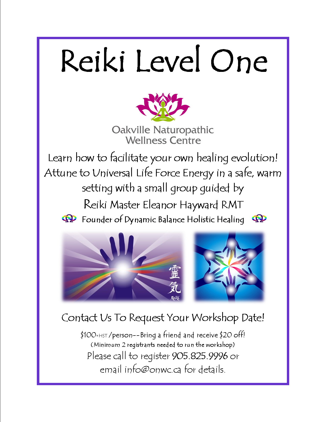 Reiki flyer request a date